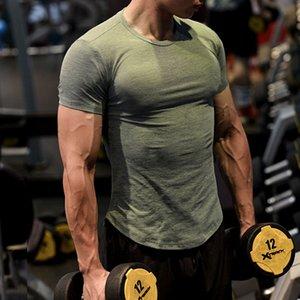 New design Spandex Gym Shirt Sport T Shirt Men Short Sleeve Running Men Workout Training Tees Fitness Top Sport T-shirt