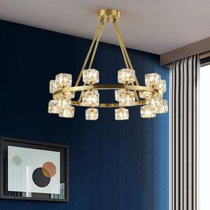 ما بعد الحداثة GOLD النحاس سيستال الثريا LAMP FOR LIVING غرفة فاخرة CRISTAL GLASS الثريا الإضاءة LED للإضاءة الرئيسية