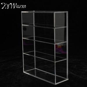 KiWarm глянцевый акриловый дисплей коробка витрина раздвижная дверь для мини-флакон духов ювелирные изделия ремесла дисплей для домашнего магазина декор