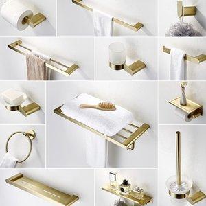 304 الفولاذ المقاوم للصدأ ناعم الذهب الحمام الأجهزة اكسسوارات الحمام مجموعة تول بار فرشاة الذهب ورق التواليت حامل رداء هوكس