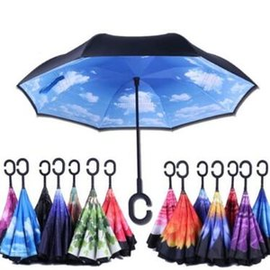 37 Styles C-Hook Windproof Reverse Umbrella Long Shank Inverted Double Layer Creative Self Stand Rain Protection Umbrella CCA10997 30pcs