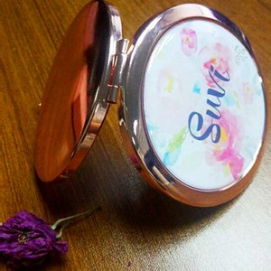 Free Shipping 4Pcs Lot Unique Custom Logo Personalized Portable Compact Mirror Party Gift Wedding Bride To Be Bridesmaid Gifts Other Event