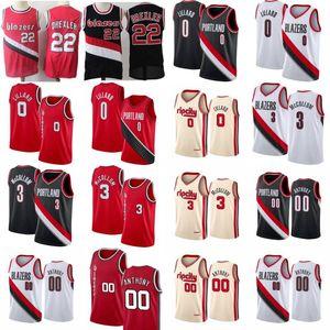 Clyde Drexler 22 NCAA Carmelo Anthony 00 camiseta de baloncesto para hombre Damian Lillard 0 3 CJ McCollum Rip camisa de la ciudad