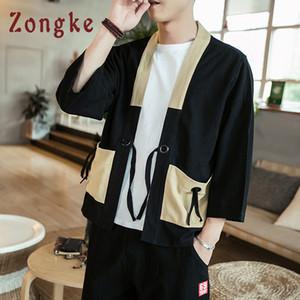 Zongke Chinese Kimono Cardigan Herren Open Stitch Kimono Cardigan Herren Black Long Jacket Herren Traditional Han Clothing 2018