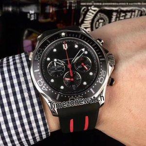 Diver 300M VK Cronografo quarzo GMT GMT Mens orologio in acciaio Caso con quadrante nero Giallo 212.30.44.52.01.001 Black Gomma Strap TimeZoneWatch B2