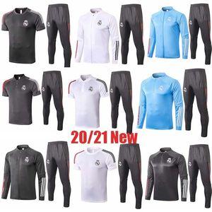 2020 21 veste Real Madrid Survêtement de football Survêtement complet fermeture 20 21 Polo + pantalon réel survêtement de formation en jersey madrid Maillot