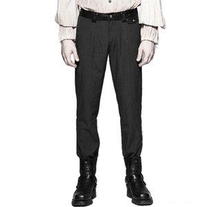 Стимпанк Mens полосатых людей хлопка Мужская одежда Полоски Простые Фитнес Chino Pants повседневные Длинные прямые брюки