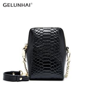 GELUNHAI 100% morbida pelle del cuoio genuino Donne Messenger Bag coccodrillo Moda spalla del modello del telefono Bag Small Flap cinghia a catena