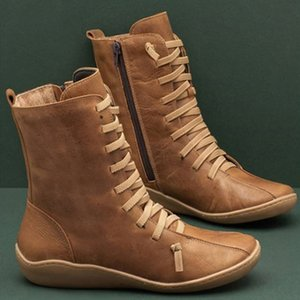 GAOKE pelle 2020 nuova delle donne naturale casuale metà polpaccio Boots Confortevole qualità morbida mano piatto Calzature nere lavoro Martin Stivali