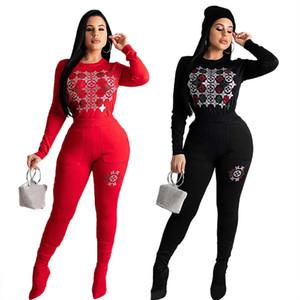 Женщины падают зимой Tracksuit горный хрусталь 2 шт набора случайного Sweatsuit длинного рукава Hoodies поножи сплошного цвета бегун костюм тонкие одежды 2404