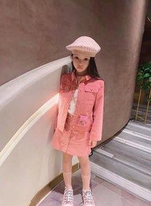 roupas jogo mola outono New Girls Set casaco rosa 2020 novos infantil Saia T-shirt de duas peças do bebê ternos uniformes das crianças Set