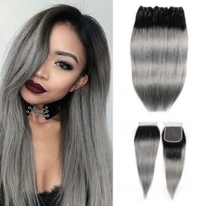 Ombre Cheveux gris Bundles avec fermeture 1B Gris Argent Rose brésilien cheveux raides 3 Bundles avec dentelle 4x4 Fermeture Remy prolongements de cheveux humains
