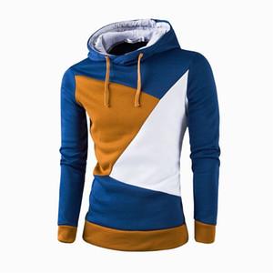 Molla di contrasto di colore dei Hoodies del Mens del progettista del Mens lungo hoodies casuali Pullover allentato Abbigliamento Uomo con cappuccio