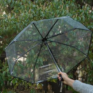Eco-Friendly Transparente Paraguas Automático Umbrella Llune Lluvia Mujeres Hombres Sun Rain Paraguas Compacto Plegable Plegable A prueba de viento Umbrella CS