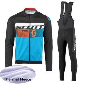2019 SCOTT Kış Termal Polar Bisiklet Uzun Kollu Jersey Bisiklet Yarışı MTB Maillot Bisiklet Önlüğü Uzun Pantolon Ropa Ciclismo Set