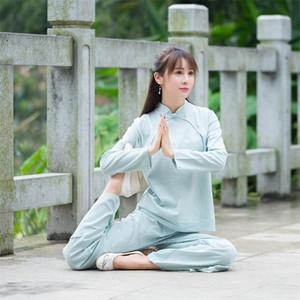 Ancien Costume chinois Folk Kungfu Taichi pratique la méditation Zen Vêtement traditionnel Solid Set Costume Coton Tang pour les femmes
