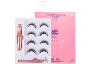 New 4 pairs of magnet eyelashes with eyeliner tweezers set without glue 3d magnetic false eyelash
