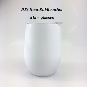 DIY Sublimation Tumbler 12oz Wine tumbler Stainless Steel Wine Glasses Egg Cups Stemless Wine Glasses with Lid Free shipping