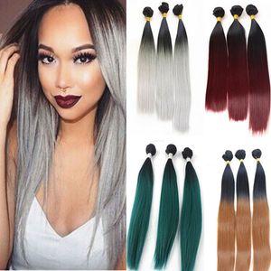 Nova moda 3 pacotes trama do cabelo cor 1b / cinza 99j High Temperature Cabelo Weave extensão do cabelo para o transporte livre cabeça cheia