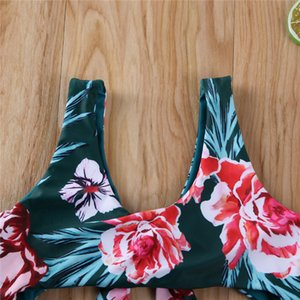2020 Fashion Trend Baby Toddler Kids Girls Tankini Bikini Bathing Suit Beach Summer New Holiday Floral Print Bandage Swimsuit