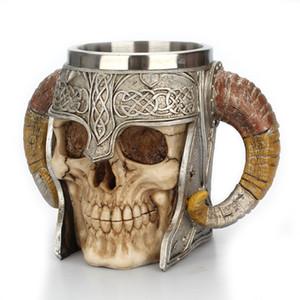 3D 커피 잔 현저한 전사 Tankard 바이킹 두개골 두 배 벽 할로윈 컵 창조적인 컵 가정 스테인리스 물 컵