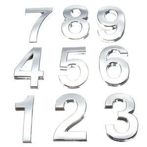 Дом и сад Sale 5см 3D Digits 0-9 Номер наклейки Тарелка Sign Hotel серебристые двери Количество Налет Современный покрыло дом Декор