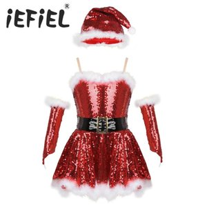 Kids Girls Fancy Party Christmas Santa Dance Costume Outfit Sequins Figure Ice Skating Roller Skating Ballet Dance Leotard Dress