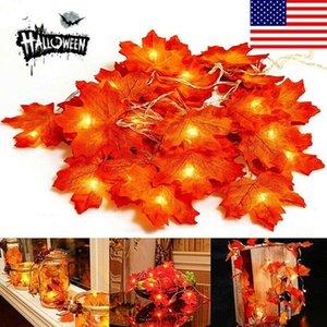 10 LED Lighted Leaf Fall Leaves Garland Lights String Thanksgiving Decor TR