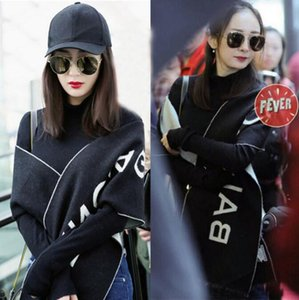 New autumn and winter men's and women's thin black letter fashion shawl imitation cashmere cashmere fringe scarf