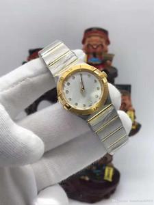 Часы класса люкс Сапфир 28мм созвездие 123.20.Жемчужина матери Бриллиантовый круг Безель Нержавеющая сталь Золото кварцевые женские часы подарок