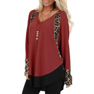 V Sexy Long Neck Sleeve Womens Leopard Painéis Tops Ladies soltos Designer Tshirts das mulheres ocasionais camisetas