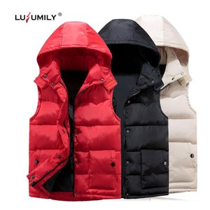 Lusumily Women's Hoodie Vest Winter Warm Thicken Casual Windbreaker Solid Colors Red Sleeveless Jacket Female Classic Waistcoat