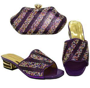 Latest Clutch Bag Match Italian Women Shoes and Bag Matching Set Italy Shoes and Bag Match To Party 2020 New Purple Color