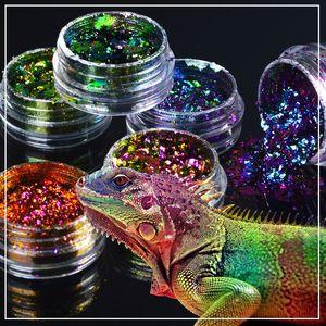 YWK 1 Kutu Galaxy Tırnak Glitter Toz Starry Sky Bukalemun Pullarda Parlak Tırnak Sparkle Toz Flakes Sanat Süsleri