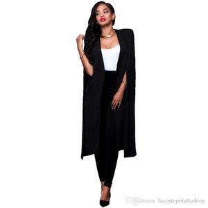 Womens Designer Long Cape Fashion Solid Office Lady Suit Jacket Business Donna V Neck Cardigan Coats