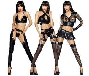 Новые женщины сексуальное черное белье Комплекты искусственной кожи высокого качества Фетиш ремень Холтер бинты Дамы Эротическое белье Виниловые W870524