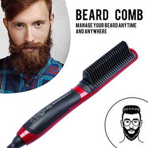 Professional cabelo Beard Straightener cabeleireiro pente alisador escova multifuncional Cabelo Curler ferramenta elétrica Man