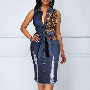Denim Panelled Sleeveless Frauen Kleider Leopard Schärpen Revers Ausschnitt reizvolle dünne, figurbetontes Kleid Art und Weise Frauen-beiläufige Kleider
