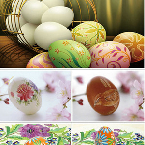 Wholesale 2019 Hot Sale 6CM Wooden Imitation Eggs Children DIY Hand-painted Graffiti Toys Easter Gift Learing Drawing Various Colors Mixed
