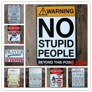 Attenzione No Stupid People igienici Cucina Bagno Family Rules Bar Pub Cafe Home Ristorante Decoratio Vintage Tin Signs retro metallo tinSign