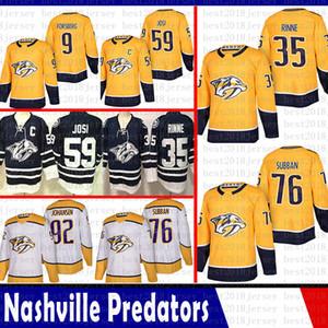 mens Nashville Predators 35 Pekka Rinne 76 P.K. Subban Hockey Jersey 9 Filip Forsberg 92 Ryan Johansen 59 Josi Roman Jersey 2018 2019 Nouveau