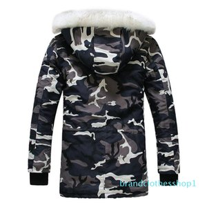 Fashion-New Camouflage Down Parkas Jackets Men 's Parka Zipper Hooded Coat Male Fur Collar Parkas Winter Jacket Men Military Down Overcoat