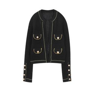 Mode-2018 printemps mode pulls marque designer femmes pull cardigan élégant femmes défilé vêtements noir