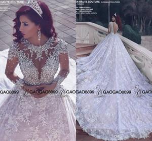 2019 increíble brillante de cristal con cuentas de encaje de manga larga vestidos de novia de tren real de Oriente Medio árabe bola de lujo vestido de novia