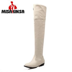 MISAKINSA Size 34-48 Donne Appartamenti Stivali Donne Inverno Flush pelliccia sopra il ginocchio cerniera stivali punta rotonda fibbia in metallo Fashion Shoes