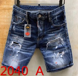 2020 Italy Fashion Style Designer Summer Mens Casual Denim Shorts Jeans Brand Embroidery Hip Pop Rock Pants Holes Jean Men Trousers