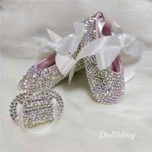 بلورات BOWKNOT مخصص البريق بلينغ الراين الطفل أحذية الفتيات الرضع 0-1Y الشريط حذاء الأميرة الأولى حمالات هيرباند