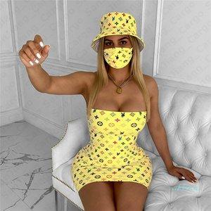 Дизайнер лета женщин платья Luxury Tight юбка с Hat и маски Три Piece Set Clubwear Trendy Color Matching костюм Ткань партия 2020 E5301