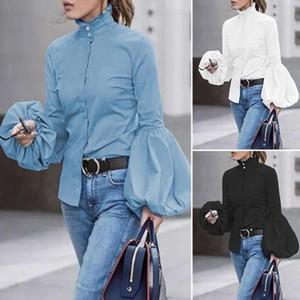 2020 Automne Loose Women Casual Chemisier Bleu Bureau Blanc Noir Femmes manches longues Hauts Chemisier