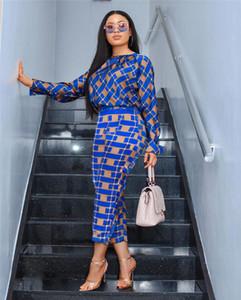 Kadın Tasarımcı İki Adet Pantolon Ekose Desen 2PCS Gömlek Kol Kadın Casual Suits Günlük ayarlar baskılı
